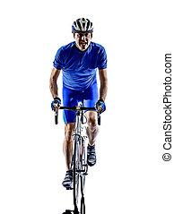 fietser, silhouette, fiets, straat, cycling