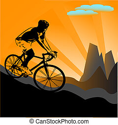 fietser, silhouette