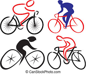 fietser, silhouettes, -, bicyclist