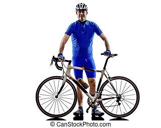 fietser, staand, silhouette