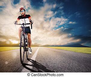 fietser, straat