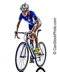 fietser, triathlon, vrouw fietsen, atleet, ironman
