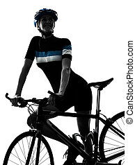 fietser, vrouw fietsen, vrijstaand, rijdende fiets, silhouette