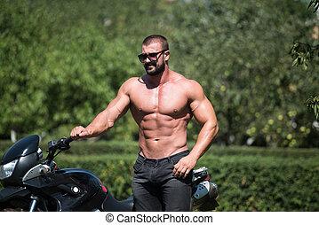 fietser, zonnebrillen, straat