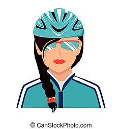 fietserhelm, zonnebrillen, illustratie, vector, pictogram