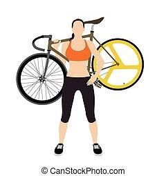 fietsers, en, vast, tandwiel, fiets