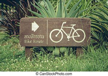 fietsroute, of, fiets, laan, of, pictogram, en, beweging, van, fietser, in, de, park.bangkok, thailand