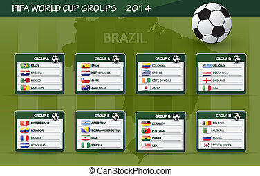 Fifa 2014 world championship groups presentation with flags of countries
