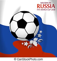 FIFA russian cup. Russian flag with soccer ball.