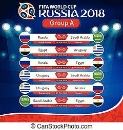 fifa, világbajnokság, oroszország, 2018, csoport, egy, hozzávaló, vektor, kép