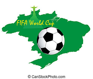inscription the World Cup and ball on a green map of Brazil