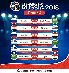 FIFA WORLD CUP RUSSIA 2018 Group A Fixture Vector Image