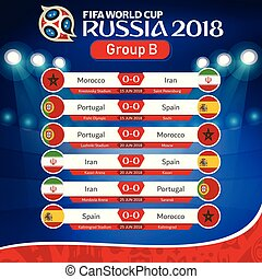 FIFA WORLD CUP RUSSIA 2018 Group B Fixture Vector Image