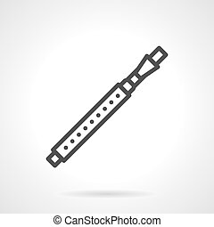 Fife black simple line vector icon - Variation of flute -...