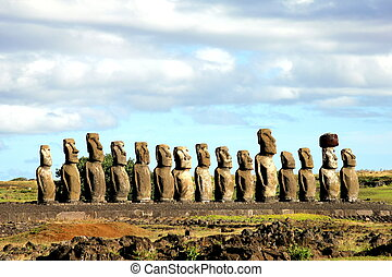 Fifteen moai at Easter Island - Fifteen Moai at Easter...