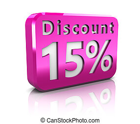fifteen percent discount - abstract 3d illustration of 15...