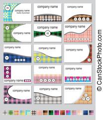 Fifteen plaid business cards - Fifteen business card designs...