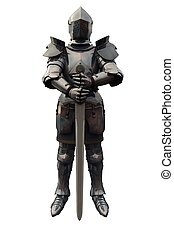Fifteenth Century late Medieval Knight in Northern Italian Milanese Armour with sword, 3d digitally rendered illustration