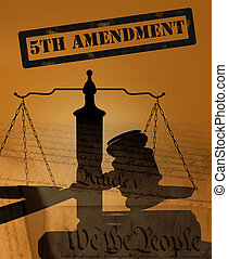 Fifth Amendment concept - 5th Amendment stamp with court...