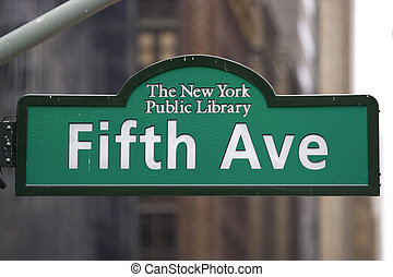 Fifth avenue sign at the new york central library, manhattan...