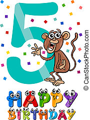 fifth birthday cartoon design