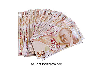 Fifthy turkish liras banknotes
