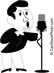 fifties crooner over white - singer from fifties holding...