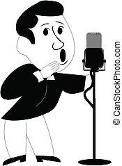 fifties crooner over white