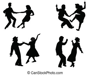 fifties dancers - teens in silhouette dancing in retro style...
