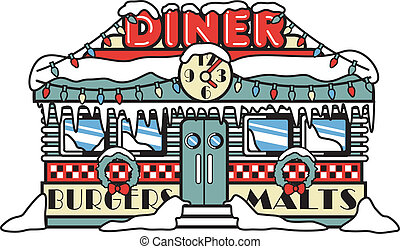 1950s fifties style diner, restaurant, burger joint or car hop decorated for the holidays with Christmas lights with burgers and malts sign in retro or vintage cartoon style.