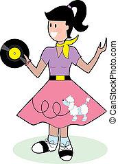 Fifties Girl - Young fifties style teenage girl in poodle...