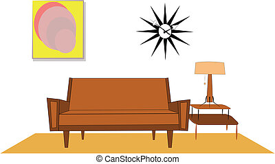 design elements from fifties in living room from that era