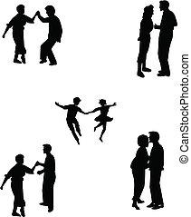 teens in various dance poses - fifties teens in various...