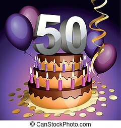 Fiftieth anniversary cake with numbers, candles and balloons