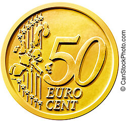 Illustration of a fifty (50) cent euro coin isolated on a white background