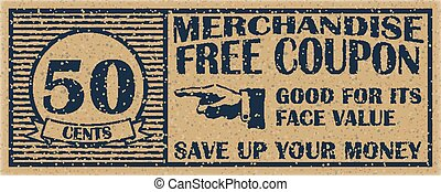 Fifty cents coupon template. Discount coupon on 50 cents.