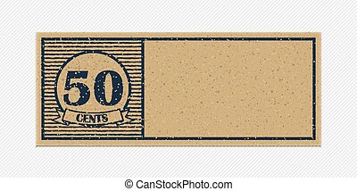 Fifty cents coupon. Vintage style template.