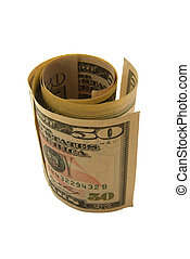 Fifty dollar bank notes in a coil