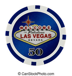 Fifty Dollar Casino Poker Chip with Las Vegas Logo