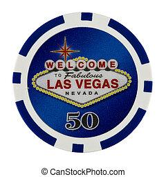 Fifty Dollar Casino Poker Chip with Las Vegas Logo