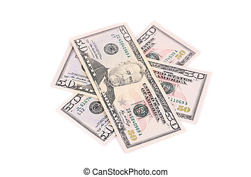 Fifty dollars banknotes. Isolated on a white background.