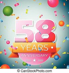 Fifty eight years anniversary celebration background. Anniversary ribbon