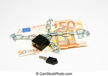 Fifty Euro bank note with a lock