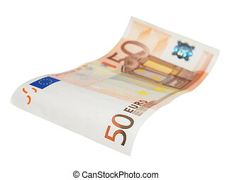 fifty euro banknotes isolated