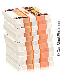 fifty euro banknotes stacks