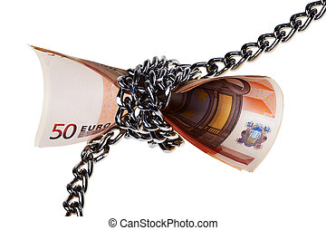 Fifty Euro banknotes wrapped in chain isolated over white background.