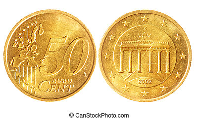 Fifty euro cent coins isolated over white background