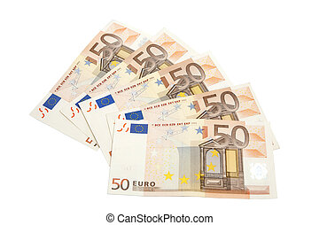 Fifty euros banknotes isolated on white background