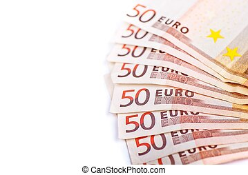 Fifty Euros Bills Isolated
