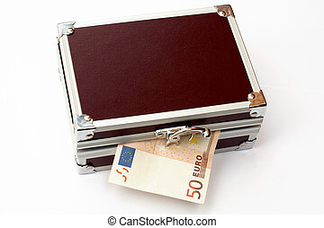 Fifty euros on Brown toned metal briefcase, isolated